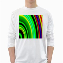 Multi Colorful Radiant Background White Long Sleeve T-Shirts