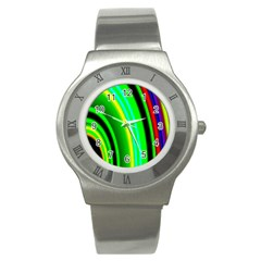 Multi Colorful Radiant Background Stainless Steel Watch