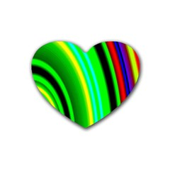Multi Colorful Radiant Background Rubber Coaster (Heart)