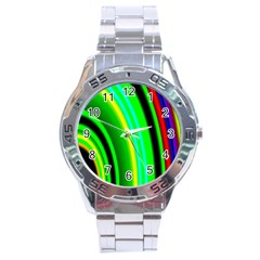 Multi Colorful Radiant Background Stainless Steel Analogue Watch