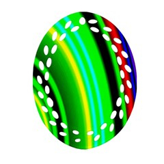 Multi Colorful Radiant Background Oval Filigree Ornament (Two Sides)