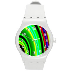 Multi Colorful Radiant Background Round Plastic Sport Watch (m)