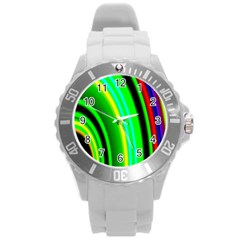 Multi Colorful Radiant Background Round Plastic Sport Watch (l)