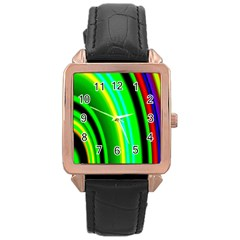 Multi Colorful Radiant Background Rose Gold Leather Watch