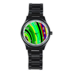 Multi Colorful Radiant Background Stainless Steel Round Watch