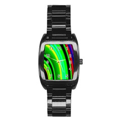 Multi Colorful Radiant Background Stainless Steel Barrel Watch