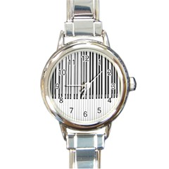 Abstract Piano Keys Background Round Italian Charm Watch