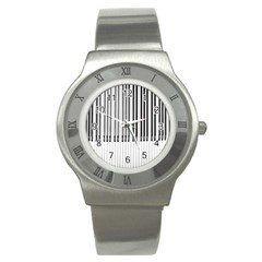Abstract Piano Keys Background Stainless Steel Watch