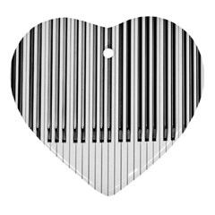 Abstract Piano Keys Background Heart Ornament (Two Sides)