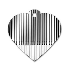 Abstract Piano Keys Background Dog Tag Heart (Two Sides)