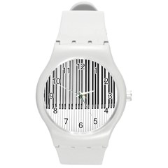Abstract Piano Keys Background Round Plastic Sport Watch (M)