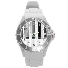 Abstract Piano Keys Background Round Plastic Sport Watch (L)