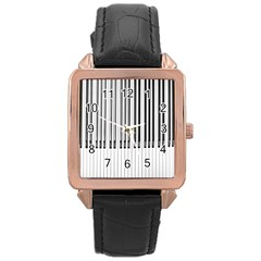 Abstract Piano Keys Background Rose Gold Leather Watch