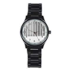 Abstract Piano Keys Background Stainless Steel Round Watch