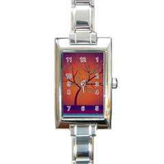 Beautiful Tree Background Rectangle Italian Charm Watch