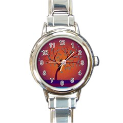 Beautiful Tree Background Round Italian Charm Watch