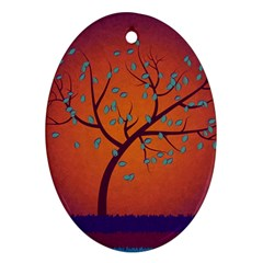 Beautiful Tree Background Ornament (Oval)