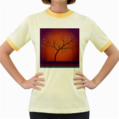 Beautiful Tree Background Women s Fitted Ringer T Shirts