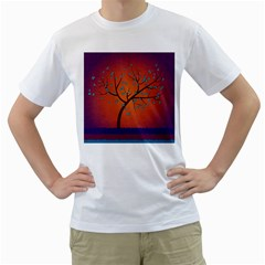 Beautiful Tree Background Men s T Shirt (white) (two Sided)