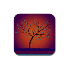 Beautiful Tree Background Rubber Square Coaster (4 pack)
