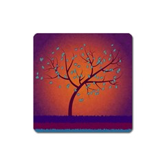 Beautiful Tree Background Square Magnet