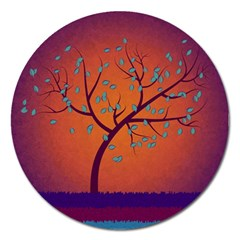 Beautiful Tree Background Magnet 5  (round)
