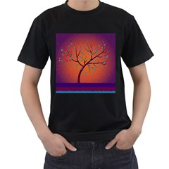 Beautiful Tree Background Men s T Shirt (black) (two Sided)