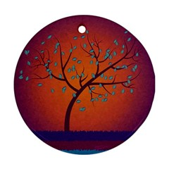 Beautiful Tree Background Round Ornament (two Sides)