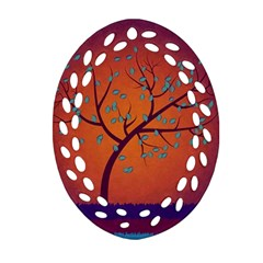 Beautiful Tree Background Ornament (oval Filigree)