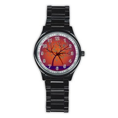 Beautiful Tree Background Stainless Steel Round Watch