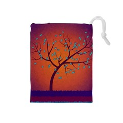 Beautiful Tree Background Drawstring Pouches (medium)