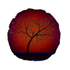 Beautiful Tree Background Standard 15  Premium Flano Round Cushions