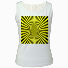 Sunburst Pattern Radial Background Women s White Tank Top