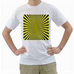 Sunburst Pattern Radial Background Men s T Shirt (white) (two Sided)