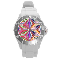 Star A Completely Seamless Tile Able Design Round Plastic Sport Watch (L)