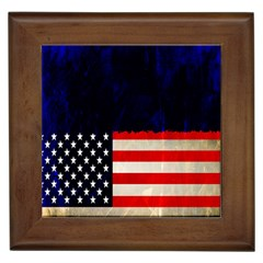 Grunge American Flag Background Framed Tiles