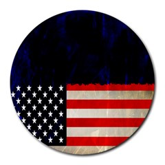 Grunge American Flag Background Round Mousepads