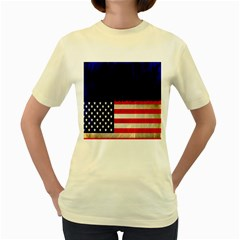 Grunge American Flag Background Women s Yellow T-Shirt