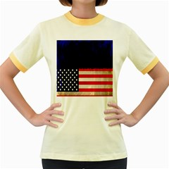 Grunge American Flag Background Women s Fitted Ringer T-Shirts