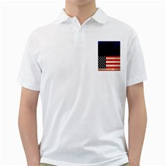 Grunge American Flag Background Golf Shirts