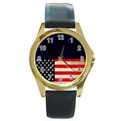 Grunge American Flag Background Round Gold Metal Watch