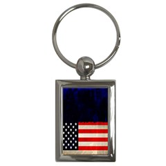 Grunge American Flag Background Key Chains (Rectangle)