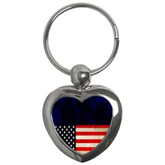 Grunge American Flag Background Key Chains (heart)
