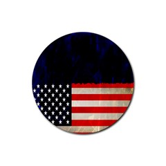 Grunge American Flag Background Rubber Round Coaster (4 Pack)