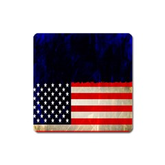 Grunge American Flag Background Square Magnet