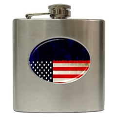 Grunge American Flag Background Hip Flask (6 oz)