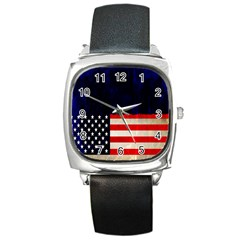 Grunge American Flag Background Square Metal Watch