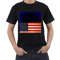 Grunge American Flag Background Men s T-Shirt (Black) (Two Sided)