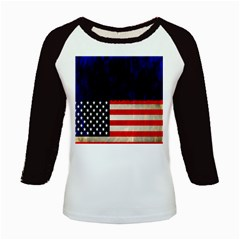 Grunge American Flag Background Kids Baseball Jerseys