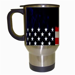 Grunge American Flag Background Travel Mugs (White)